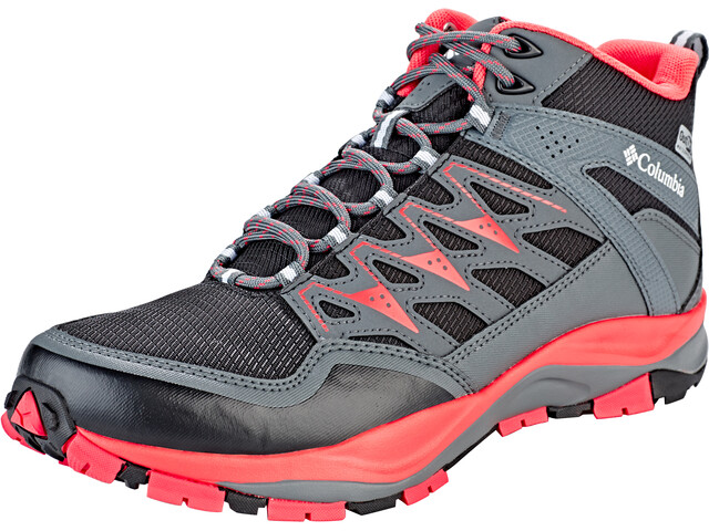 Columbia Wayfinder Mid Outdry Zapatillas Mujer, black/red coral